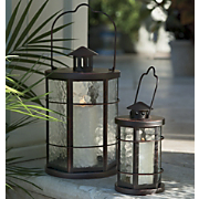 set of 2 antiqued glass lanterns
