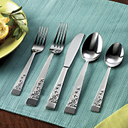 20 piece zamora sandblast flatware set