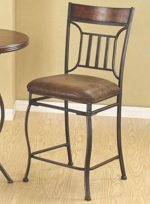 Metal and Wood Counter Height Chair