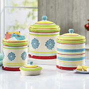3 piece blooming hill stoneware canister set