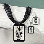 zebra necklace earring set