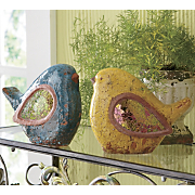 set of 2 mosaic birds