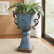 acantha antiqued blue planter