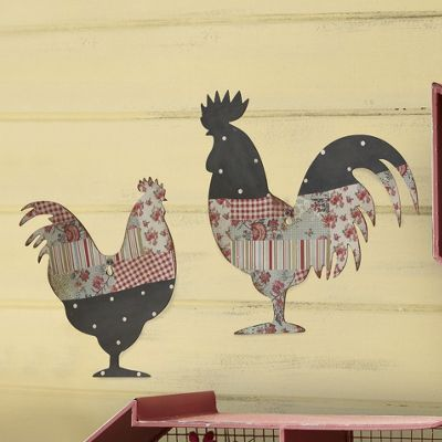 set of 2 patchwork chickens