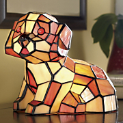 stained glass puppy love lighted accent