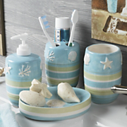 4 piece reef stripe bathroom accessory set