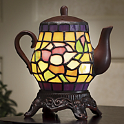 tea rose stained glass accent lamp