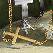 Horizontal cross name Link Necklace