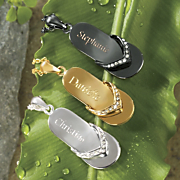 Flip flop name Pendant With Crystal Accents