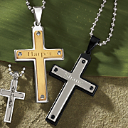 Name Two tone Cross Pendant