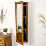 Walnut Wall Mount Jewelry Mirror
