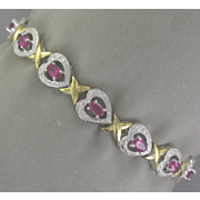 Faux Ruby Heart Bracelet