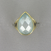 Blue Mother of pearl Pear Ring