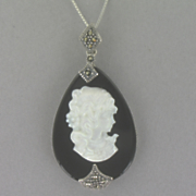 Onyx mother Of Pearl Cameo Pendant