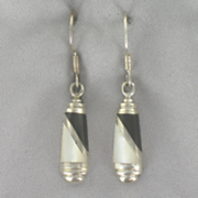 Onyx mother of pearl Inlay Earrings