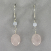 Blue Lace Agate rose Quartz Earrings