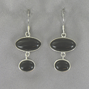 Onyx Double Oval Earrings