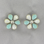 Turquoise mother of pearl Flower Earrings