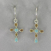 Turquoise coral Cross Earrings