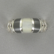 Onyx mother of pearl Band