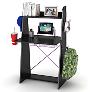 Ladder Desk In Black With Purple Edging