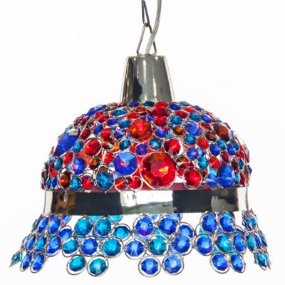 Blue and Red Jeweled Hanging Lamp