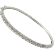 Diamond and Sterling Silver Bangle