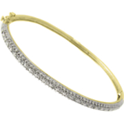 18k Gold Over Sterling Silver Bangle With Diamonds