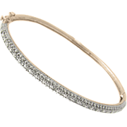 18k Rose Gold Over Sterling Silver Bangle With Diamonds