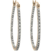 18k Gold Over Sterling Silver Diamond Hoop Earrings