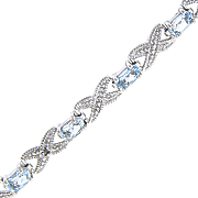 Blue Topaz X o Bracelet With Diamond Accents