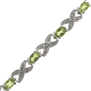Peridot X o Bracelet With Diamond Accents