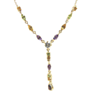 Multi gemstone Y necklace