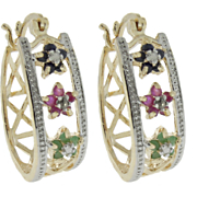 Multi gemstone and Diamond Hoop Earrings