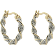 Twisted Hoops With Diamond Accents