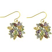 Multi gemstone And Diamond Cluster Earrings