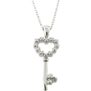 Heart key Diamond Accent Pendant