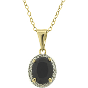 Sapphire Oval Pendant With Diamond Accents