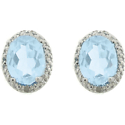 Blue Topaz Earrings With Diamond Accents