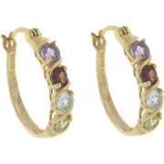 Multi gemstone Hoops