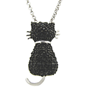 Black Cat Pendant With Diamond Accents