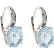 Topaz Leverback Earrings With Diamond Accents