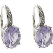 Amethyst Leverback Earrings With Diamond Accents