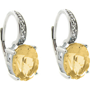 Citrine Leverback Earrings With Diamond Accents