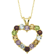 Multi gemstone Heart Pendant