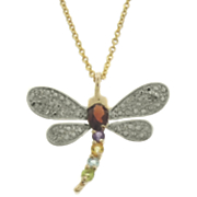 Mulit gemstone and Diamond Dragonfly Pendant