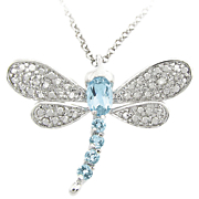 Blue Topaz and Diamond Dragonfly Pendant