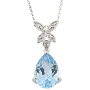 Blue Topaz And Diamond Teardrop Pendant