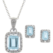 Blue Topaz and Diamond Rectangle Pendant and Earrings