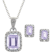 Amethyst and Diamond Rectangle Pendant and Earring Set